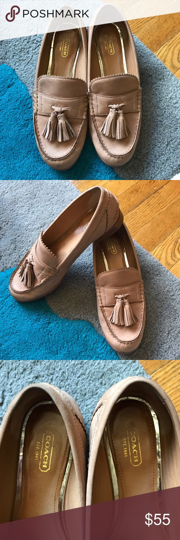 Coach Haydee Tan Loafer sz 8.5 Coach Haydee Tan Loafer sz 8.5 used twice in excellent condition (have been worn with socks) Beautiful penny loafer style with tassels and scalloped details. they have two small marks shown in last picture.  100% authentic. I do not sell inauthentic items of any sort and do not recommend purchasing inauthentic items.  NO TRADES NO LOWBALL OFFERS NO PAYPAL NO HOLDS items will not be modeled. Please ask questions only if interested in purchasing. All items come…
