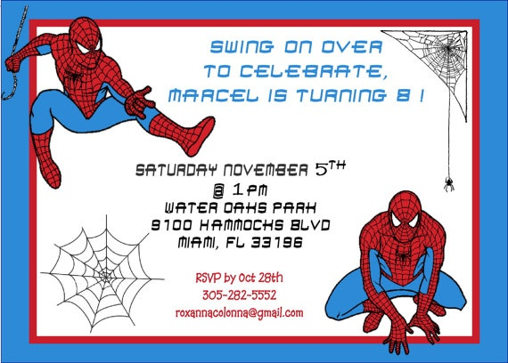 Spiderman Birthday Invitation Digital File Red By OneCuteNursery 1000