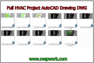 download full hvac project autocad drawing dwg hvac (heating 2D CAD Drawings