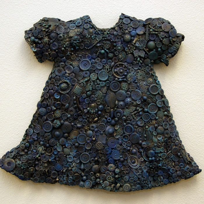 "Nancy Youdelman ~ ""Sophie's Buttons"" (2000) Mixed media relief 18.5 x 21.5 x 3 in. nancyyoudelman.com © Nancy Youdelman"