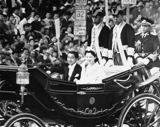 The Current Emperor and Empress of Japan at their wedding in 1959