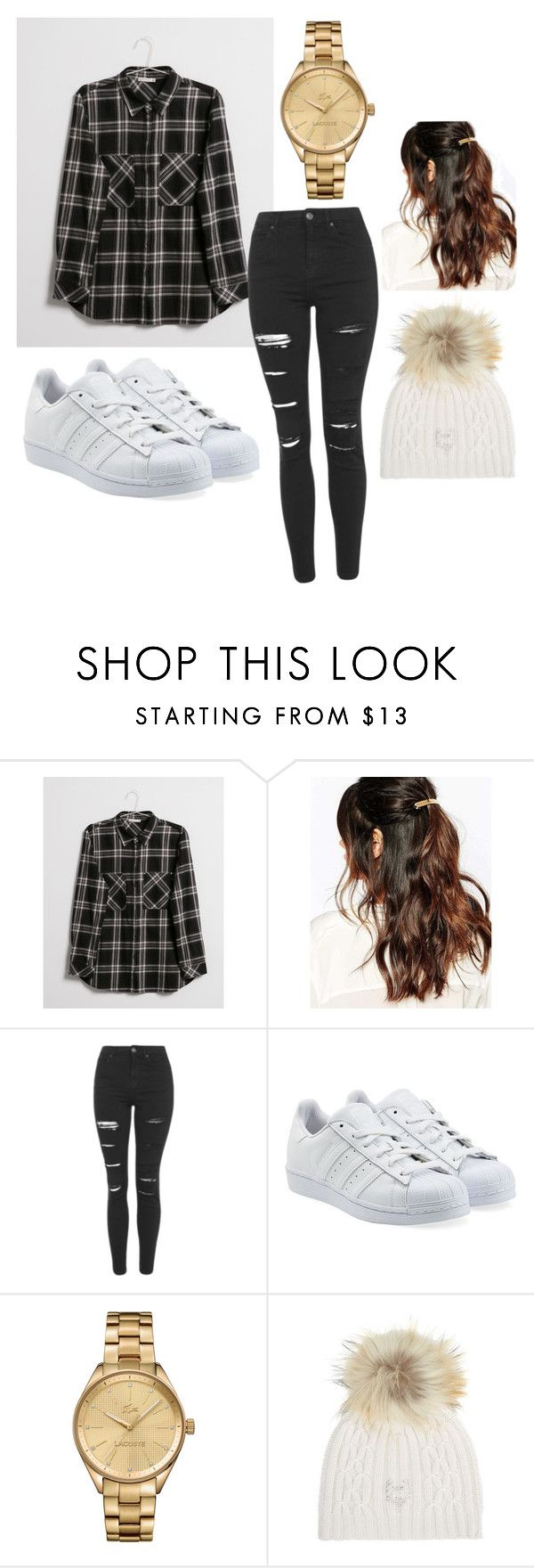 """""""School Outfit"""" by eloise-da-silva ❤ liked on Polyvore featuring Bershka, Suzywan DELUXE, Topshop, adidas Originals, Lacoste and M. Miller"""