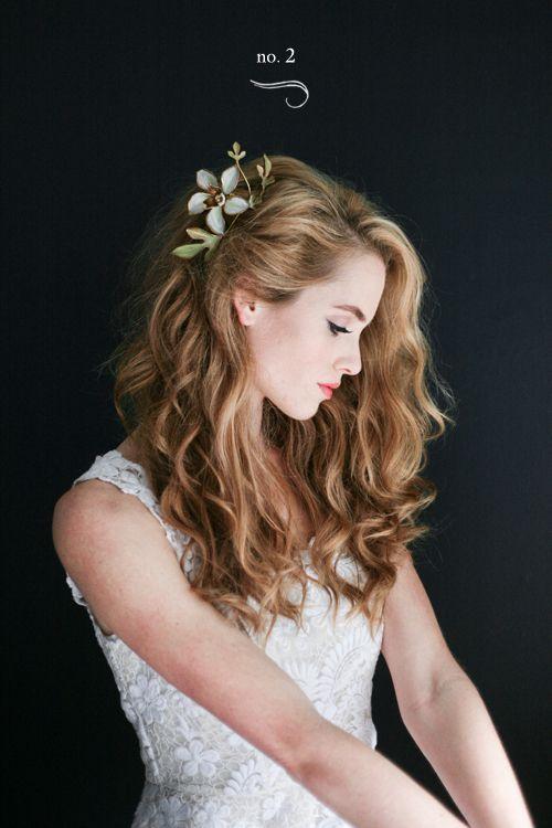 Gorgeous tousled wavy glam wedding hairstyle