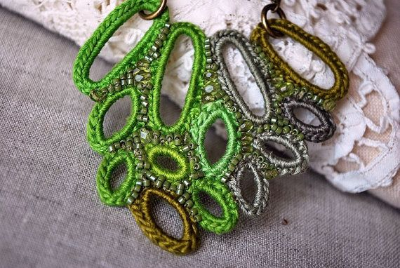 Green Leaves Crochet Necklace designed by Victoria Letemendia Koupparis. For sale on Etsy.