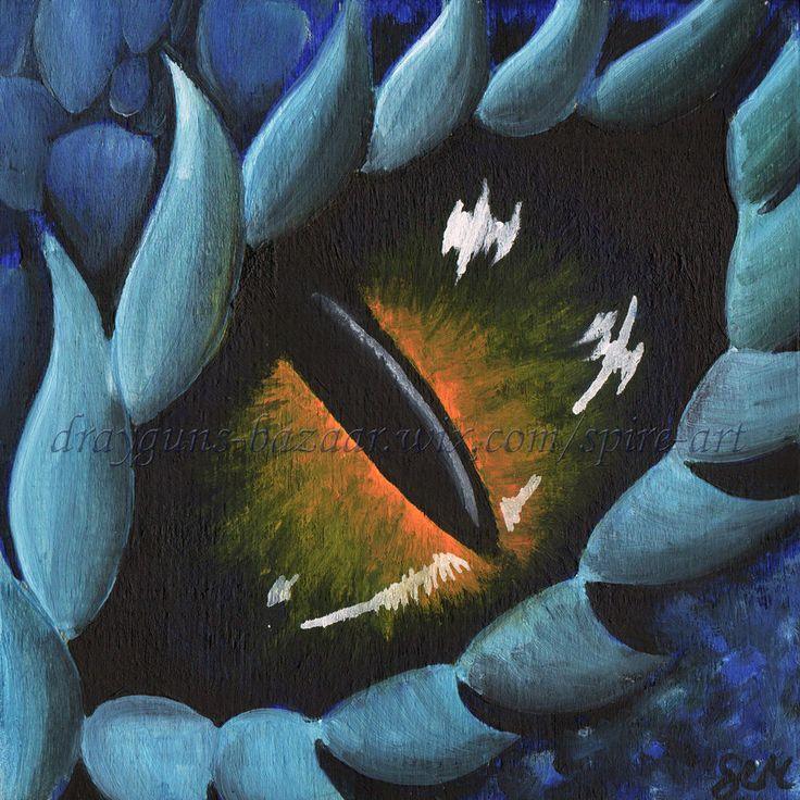 Original Art 6 x 6 Dragon Eye Fantasy Blue Lizard Reptile Oil Painting  SMcNeill #Realism