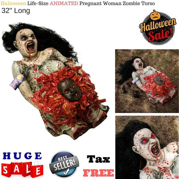 Animated Spooky Pregnant Woman Zombie Torso w/ Demon Baby Halloween Decoration  #TCP