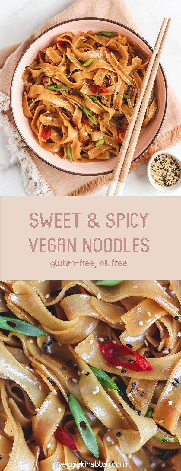 7-Ingredient Sweet and Spicy Noodles (vegan, gluten free, oil free)
