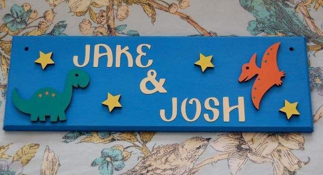 Shared Room Door plaque, sign, plate. Any colours, Any two Names. Dinosaurs. £12.00