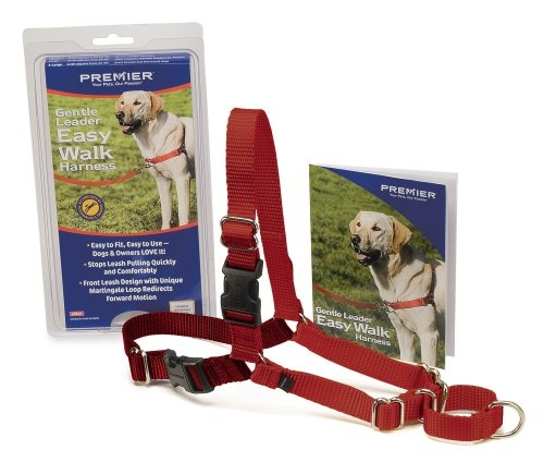 $14.45-$25.99 The Gentle Leader Easy Walk Harness is designed to gently discourage your dog from pulling while walking on a leash. Unlike traditional collars, our harness never causes coughing, gagging, or choking because the chest strap rests low across the breastbone. Its unique front chest leash attachment stops pulling by steering your dog to the side and redirecting his attention towards you ...