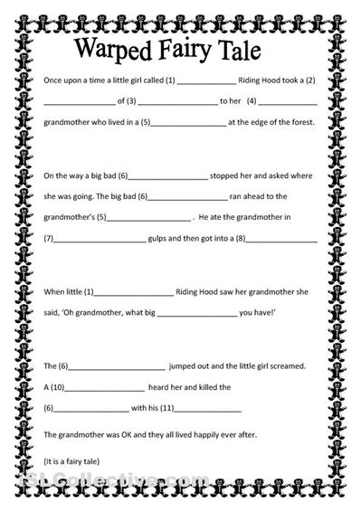 warped fairy tale worksheet free esl printable worksheets made by teachers school stuff. Black Bedroom Furniture Sets. Home Design Ideas