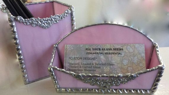 Female Executive Desk Set Card Holder & by StainedGlassbyJean