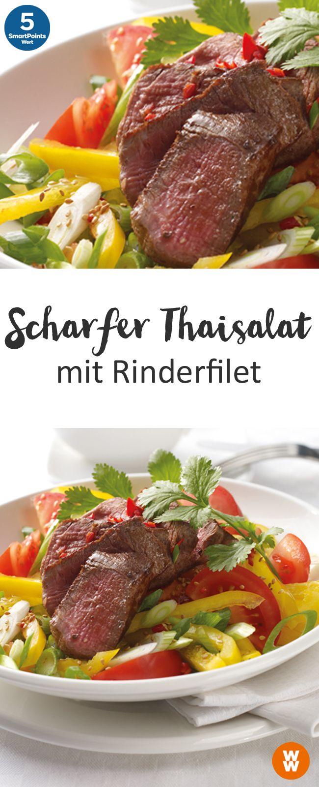 Scharfer Thaisalat mit Rinderfilet | 2 Portionen, 5 SmartPoints/Portion, Weight Watchers, fertig in 30 min.