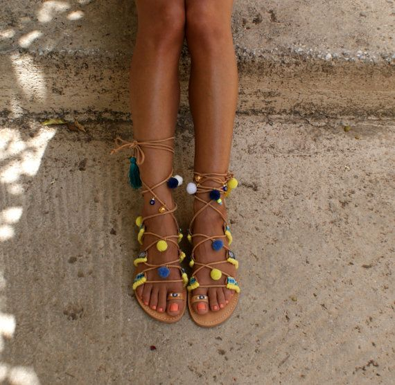 Gladiator sandals/ Boho sandals/ Tie up sandals/ by magosisters