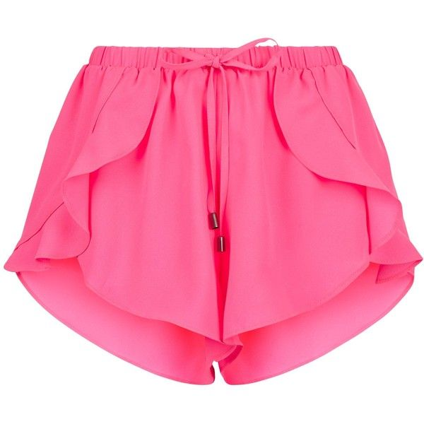 Pink Frill Trim Beach Shorts ($15) ❤ liked on Polyvore featuring shorts, bottoms, pants and beach shorts