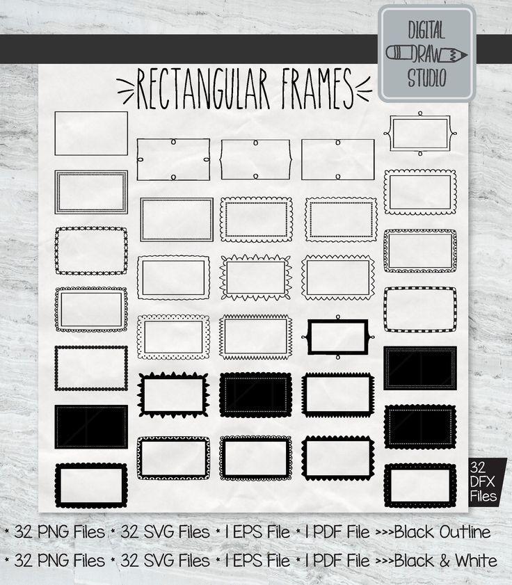 32 Rectangular Frames Clip Art Hand Drawn Border