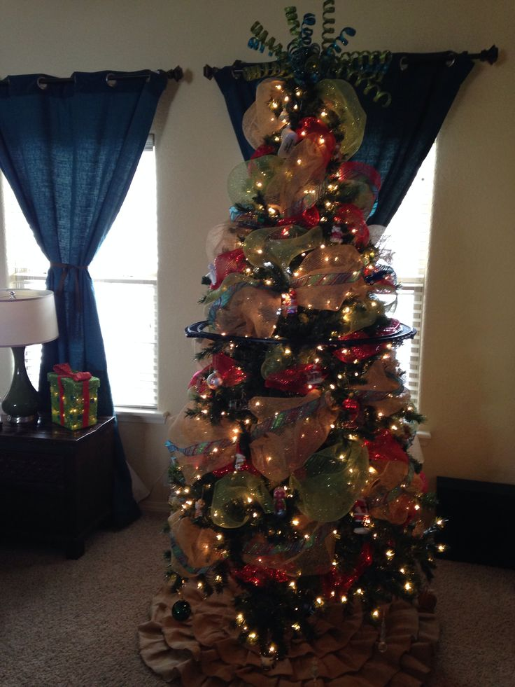 My Teal Blue Red Green And Burlap Christmas Tree
