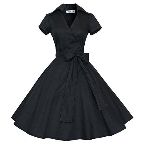 Babyonlinedress Robe de soirée/Bal Courte Rétro Vintage année 40/50 avec Manches Courtes, Style Audrey Hepburn Rockabilly Swing: S'il vous…