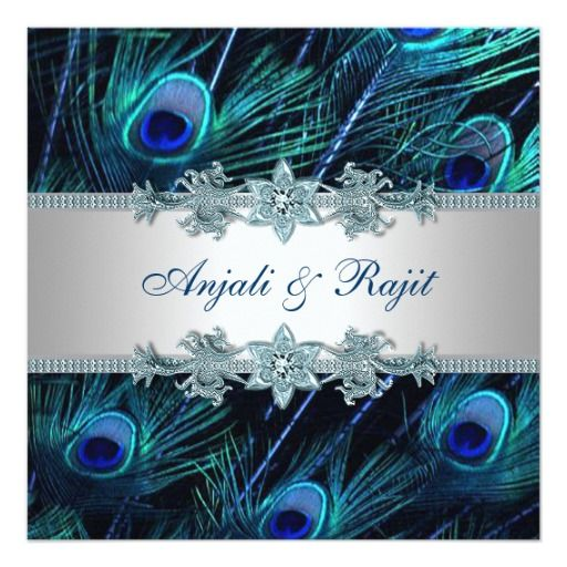 elegant royal blue real peacock feathers peacock blue silver indian wedding invitations formal bright peacock - Peacock Wedding Invitations