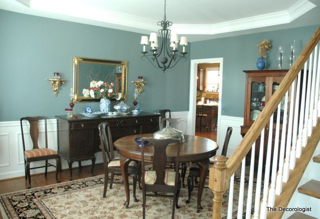 Blue green dining room. The before and after pics are amazing. It's incredible how color can change a whole room. -J-