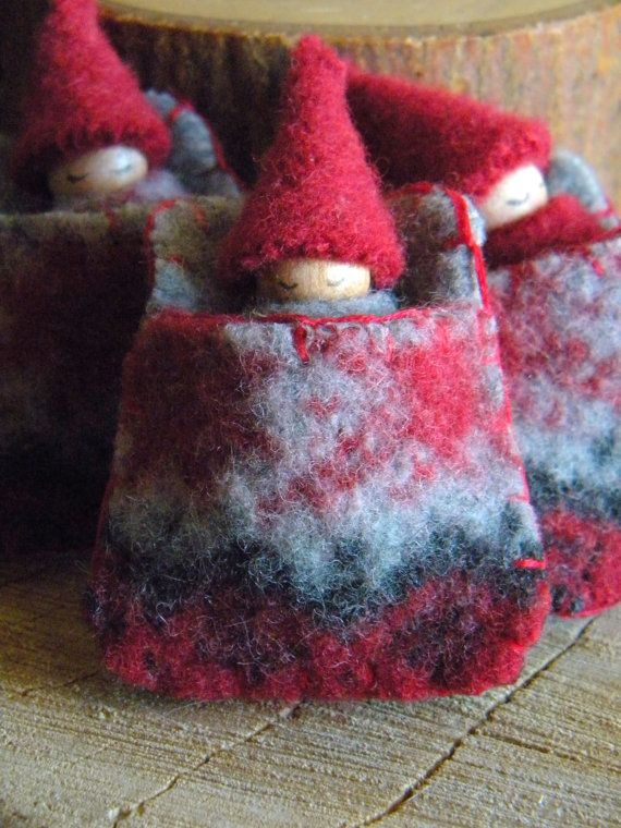 Waldorf Gnome Baby Snowflake Sleeping Pouch, Red, gray, charcoal, Christmas Toy, Waldorf Gnome Playset, Sleeping Bag, Upcycled eco toy