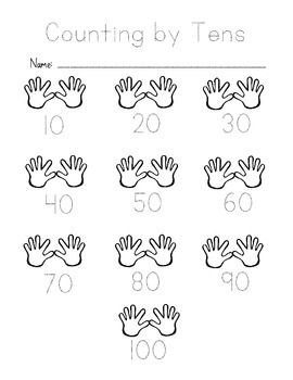 "These are writing and tracing worksheets with ""hand"" graphics to help illustrate the concept of counting by tens and fives. I hope you find them helpful!"