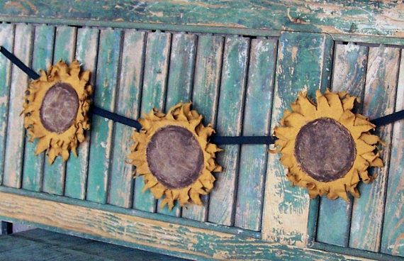 Rustic Sunflower Garland Farmhouse Style Wall Decor