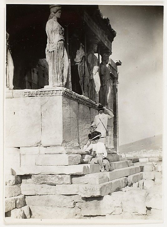 Photographer Adolf de Meyer & his wife posing at the Acropolis ~ 1890's