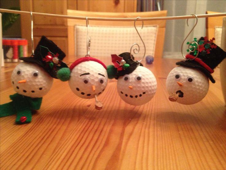 Snowman golf ball ornaments
