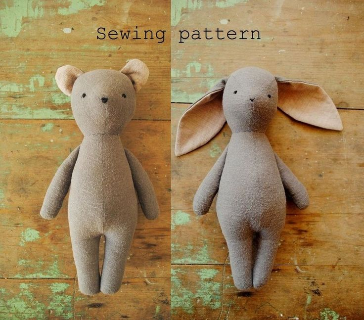 Bunny and bear soft toy PDF sewing pattern by Margeaux Davis from Willowynn. Download at www.etsy.com/au/shop/willowynn