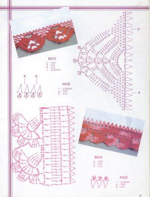 CROCHETANDO: BARRADOS DE CROCHE COM GRÁFICOS.. #inspiration_crochet_diy GB ...: Crochet Ideas, Crochet Biquinhos, Crochet Edging, Bicos Croche, Inspiration Crochet Diy Gb, Barrados De Croche