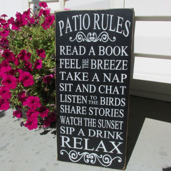 Amazing PATIO PORCH RULES Sign, Outdoor Decor Sign, Custom, Solid Wood, Spring  Summer