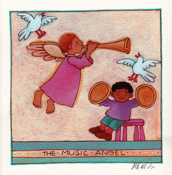 """The Music Angel"" original by Tomie dePaola available at the R. Michelson Galleries or at rmichelson.com."