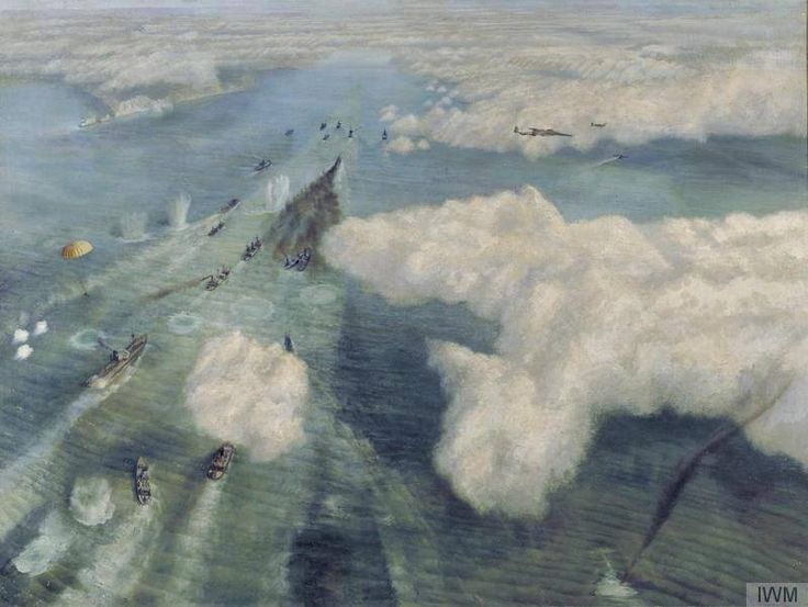 Convoy Mondays - This painting is a aerial view of a coastal convoy travelling east along the English Channel, past the Isle of Wight, identifiable by the 'Needles' chalky rock formations at the tip. The wartime artist Richard Ernst Eurich knew these waters well and had plenty of experience in escort destroyers used to guard the convoys in the Channel. (photo credit: convoy under attack from air view © IWM (Art.IWM ART LD 1326)).