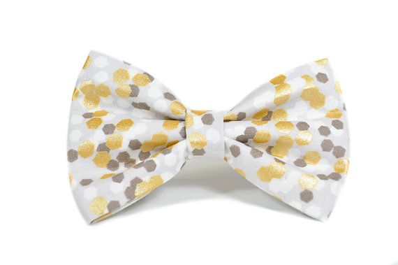 Metallic Gold Foil Wedding Dog Bow Tie Collar Sold Separately. - attaches to any collar up to a 1.5 width with two double-sided velcro tabs - lined with interfacing to maintain structure and shape - available in a 3 width, 4 width or 5 widths which can be chosen based on your preference. - pattern placement will vary slightly with each size  Hand wash and hand press as needed. Remove all collar accessories when pet is left unattended.  Made to order, ships in 1-2 weeks. Be sure to review our…