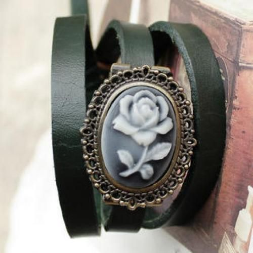Genuine-Leather Embossed-Flower Strap Watch