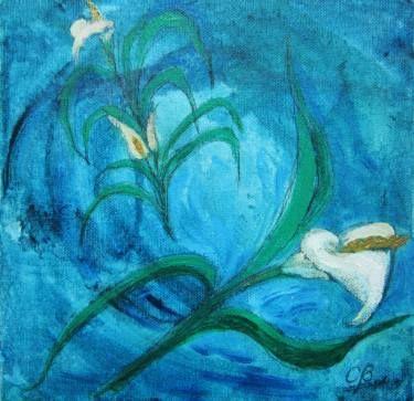 Cuatro Calas or Four Cala Lilies, técnica mixta s/tela 20 x 20 cms. @copyright Carolina Busquets.