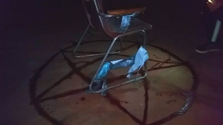 Abandoned school . Found satanic ritual.