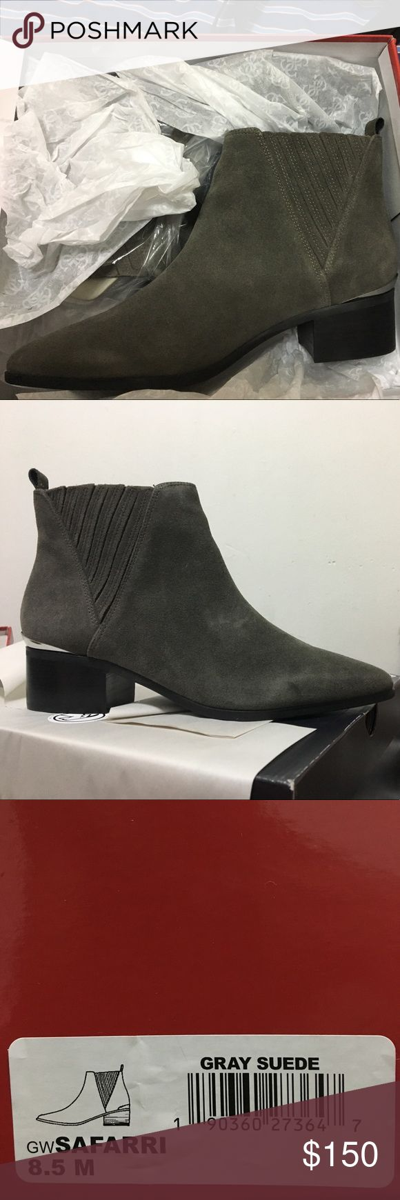 Guess Safari / safarri gray suede bootie Brand new deadstock shoe, never worn all in perfect condition. Pointed toe, gray suede, roughly 1 inch heel maybe 1.5 in. Shoe shipped as I received it; only taken it out for the pictures. Feel free to offer. If bundled with another women's shoe or dress, 20% off listed price Guess Shoes Ankle Boots & Booties