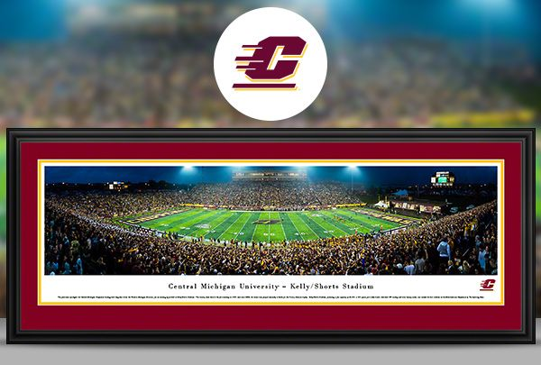 Central Michigan University Chippewas Panoramic Poster Prints - Framed Decor
