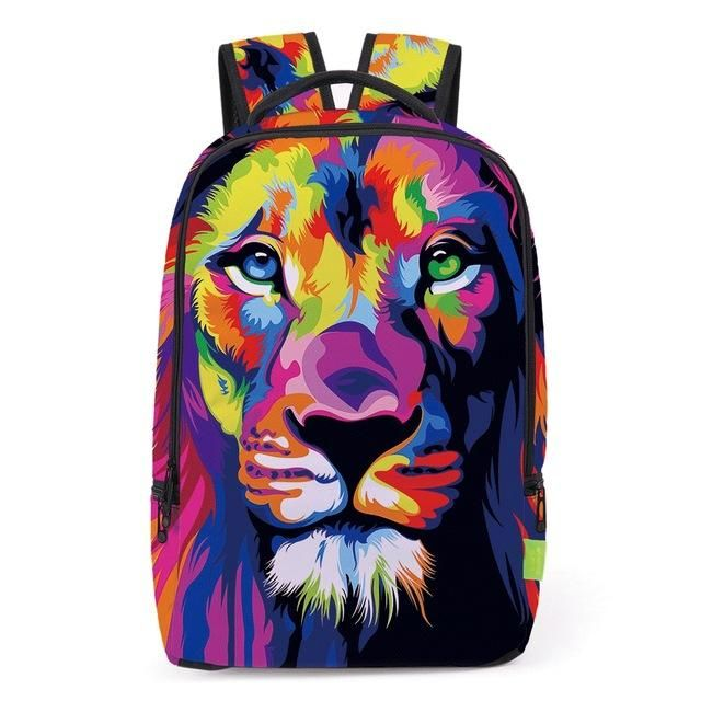 Colorful lion Backpack! With this unique design you will stand out in the crowd. Lion printed backpack on sale!