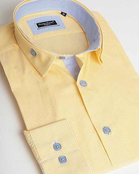 Designer shirt for men by Franck Michel | Venice Yellow stripes - Men Fashion - 1