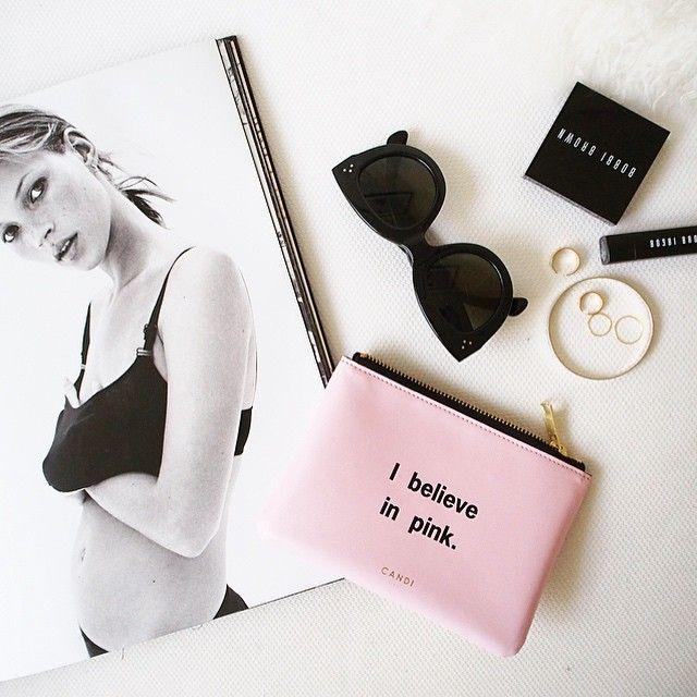 I believe in pink. Do you?  . mini pouch @canditokyo #canditokyo