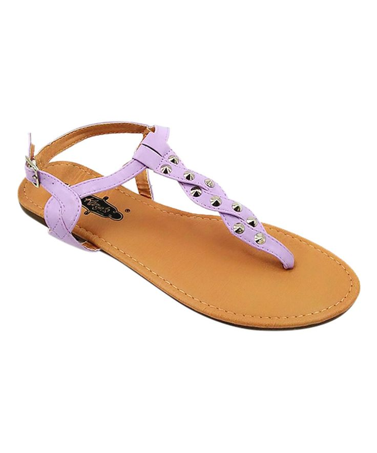 Loving this Light Purple Braided T-Strap Sandal on #zulily! #zulilyfinds