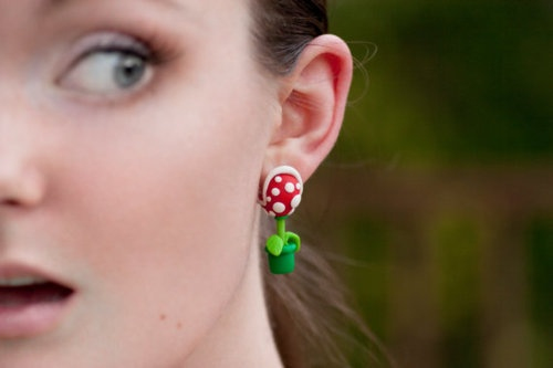 Awesome set of pirhana plant earrings by lizglizz! She has a lovely selection of geeky clay earrings and jewelry.