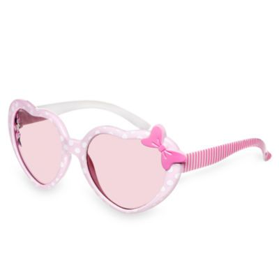 Mimmi Pigg-solglasögon med rosa glas med 100 % UV-skydd, hjärtformade bågar med prickmönster och randiga skalmar.
