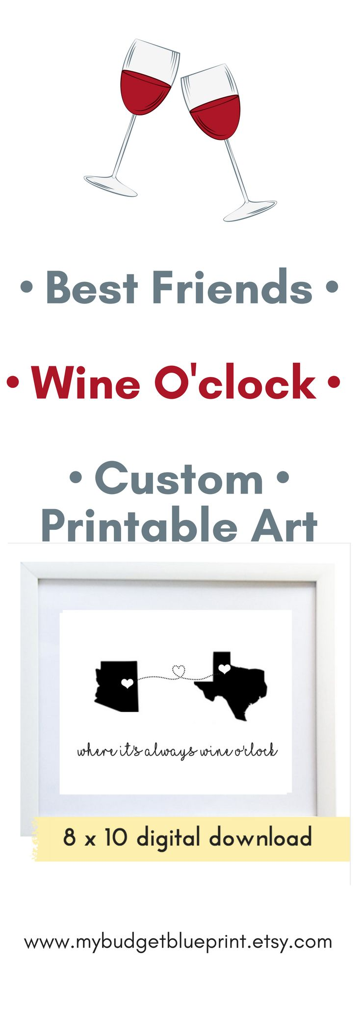 It's always wine o'clock when your best friend is just a phone call or FaceTime away - wine wall art printable decor best friend gift funny print personalised card personalized card digital download