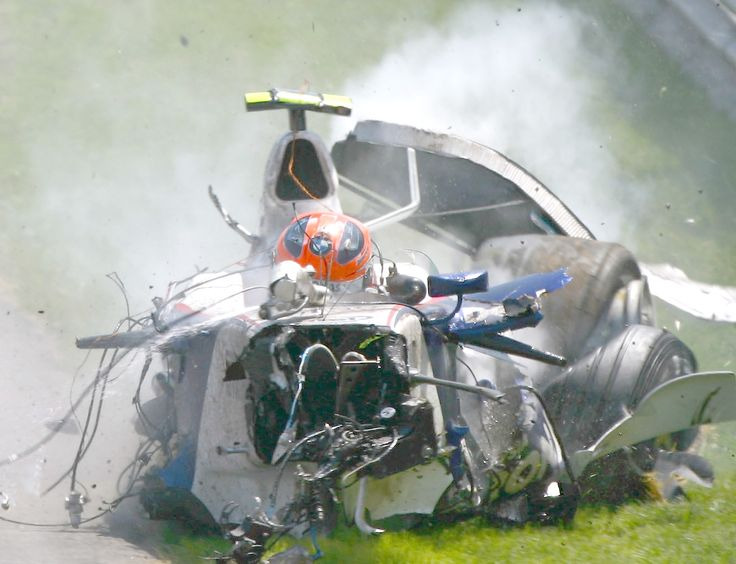 Robert Kubica 2007 Montreal.  Those are his feet sticking out the front.