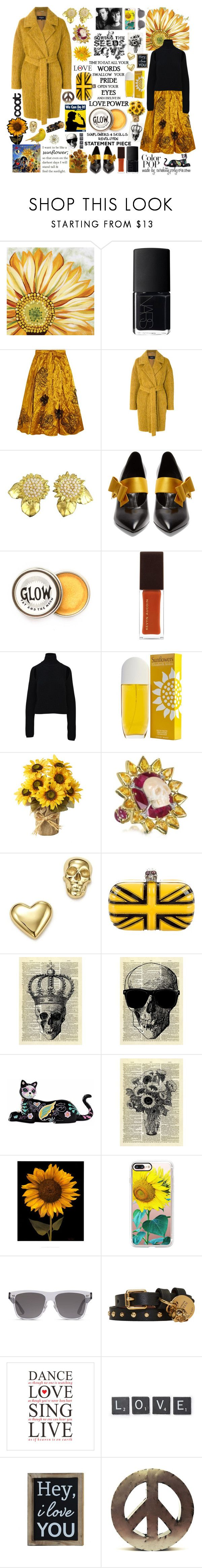 """Sowing the Seeds of Love: A Sunflowers & Skulls Revolution!"" by curekitty ❤ liked on Polyvore featuring Thos. Baker, NARS Cosmetics, Roksanda, Rochas, Karl Lagerfeld, Prada, Kevyn Aucoin, Calvin Klein, Elizabeth Arden and Bernard Delettrez"