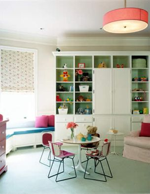 window seat, built-in's, pink drum pendant, and play seating.  amie weitzman: Lights Fixtures, Kids Spaces, Color, Plays Rooms, Interiors Design Style, Playrooms, Fireplaces Shelves, Window Seats, Kids Rooms