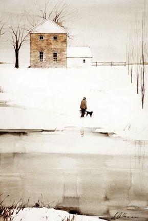 "2004, Approaching Dark by Joseph Alleman Watercolor ~ 22"" x 15"""
